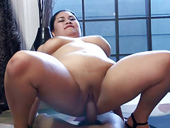 Big fat eastern babe gets a good mammoth swarthy cock fuck!