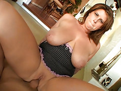 Busty Mom Blows & Bangs Big 10-Pounder On Sofa & Ends With Facial