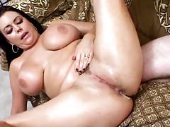 Sexy big tit girls get cum drop on their big tits.
