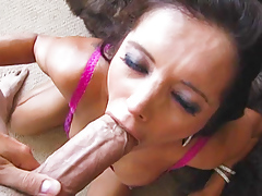Francesca Le takes cock in her dirty mouth and between tits.