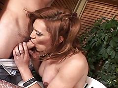 Sexy brown hair ladyman Brigitte accepts sucked and fucks a guy