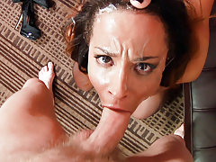 Francesca teaches Teanna how to suck dry Mark's thick cock