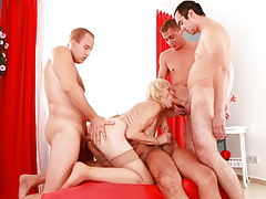 Four bored gentlemen give a decision to gangbang a fairy grandmother.