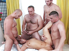 Mom attains a taste of a real gangbang with 4 juvenile & sexy boys