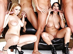 Sexy young whores with real big whoppers group-bonked by raw cocks