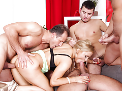 Hot busty fairy Jenna Lovely drilled hard by 4 gigantic cocks!