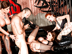 Rocco is a prisoner and screws 3 gorgeous big tits rebels !