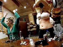 Whole group of sticky pornstars playing cards in a log cabin!