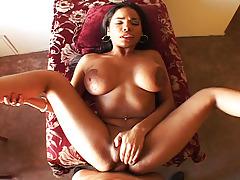 Nice black girl enjoys to suck and fuck big penis