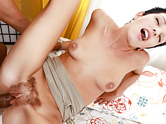 Short haired hairy juvenile loves when a big black dong cum alot
