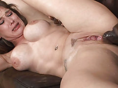 This dark hair gets her pussy set on fire by a giant black cock