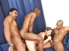 Small Brunette Is Taken Hard By Triple Big Black Cocks