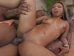 Dark asian girl gets her wet crack bonked by some big black cock