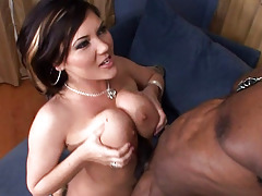 Pretty brunette likes big strong black penis in her pussy!