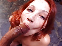 Girl attains to relax & enjoy some good black cock in her mouth