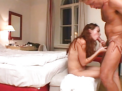 Red headed whore has this new hobby to swallow huge hard dick