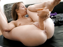 The astounding Lepidoptera masturbates and squirts for Rocco