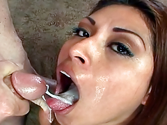 Useful Looking Latin hottie Gags On Cock & Gets Her Face Creamed
