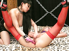 2 women having fun with toys and leather in fetish movie