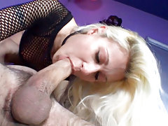 Tasty Blond Chokes On A Hard Cock Until She Gets Facial