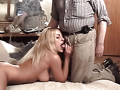 Hot all natural blond Julie Ryan sucks a fat ugly old man