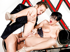 Sexy prostitute with glasses blows and rides Rocco's hard dick