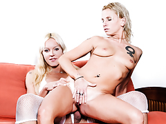 Threesome between a girl, a guy, & a hot blonde buxom tranny