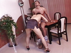 Excited redhead get her pussy and ass fucked hard at work