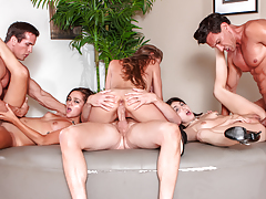 3 neighbors pass their slutty wives around like fuck-toys
