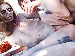 Pounding Sophia's zombie pussy on the rooftop