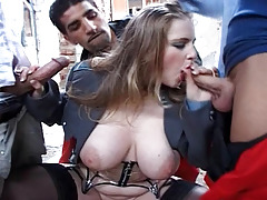 Rocco Enjoys Fucking A Breasted Police Woman With His Comrade