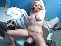 Bawdy girl indulges her doc's fetishes and sits on his face