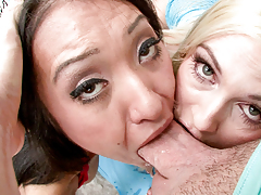 Two dick water hunger sluts swallow intense prick then dick water swap.