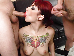 Jessie fond of cock in her face hole and goo on her tattoo.
