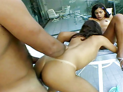 Two horny latinas in a exceptional threesome in this hot video