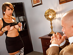 Busty punk school girl shows her balloons to the principal!