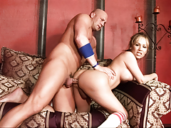 Lucky Christian XXX gets to pound hard Celeste's tranny a-hole