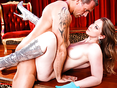 Cute Lane goes crazy wild on Marcus' cock even as stripping