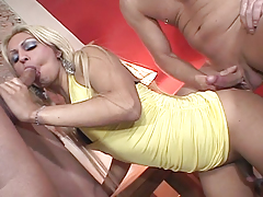 Two studs and a tranny orally fixating and fucking each in this scene