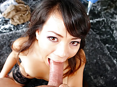 Hot oriental wears stockings and gets her gorge fucked hard!