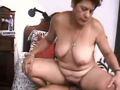 Fat granny jumps on cock
