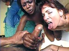 Lovely milfs catching cum