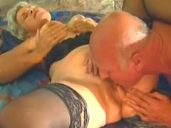 Granny enjoys oral on bed