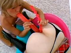 Teen lezzie gets dildo