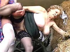 Mom gets sex on hayloft