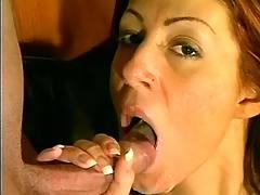 Horny waitress drinks cum