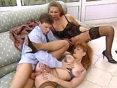 Two mature babes fuck guy