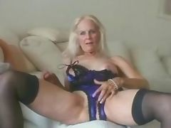 Grandma plays with old tired pussy