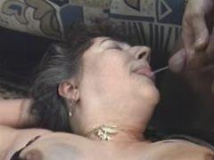 Lusty grannies get cum in groupsex