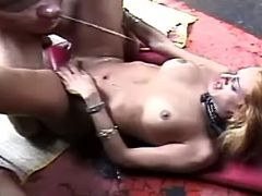 Shemales get double cumload in orgy